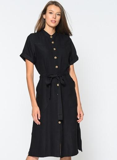 Loves You %100 Keten Kısa Kol Elbise Siyah